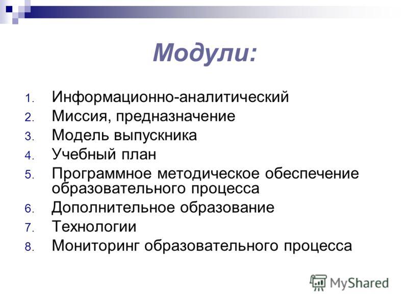Модули: 1. Информационно-аналитический 2. Миссия, предназначение 3. Модель выпускника 4. Учебный план 5. Программное методическое обеспечение образовательного процесса 6. Дополнительное образование 7. Технологии 8. Мониторинг образовательного процесс