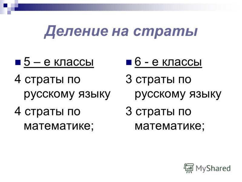Деление на страты 5 – е классы 4 страты по русскому языку 4 страты по математике; 6 - е классы 3 страты по русскому языку 3 страты по математике;