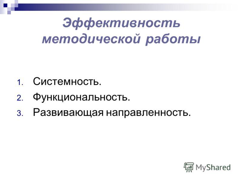 Эффективность методической работы 1. Системность. 2. Функциональность. 3. Развивающая направленность.