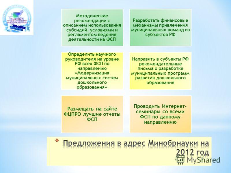 Модернизация муниципальных систем дошкольного образования Методические рекомендации с описанием использования субсидий, условиями и регламентом ведения деятельности на ФСП Разработать финансовые механизмы привлечения муниципальных команд из субъектов