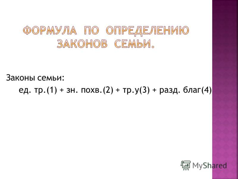 Законы семьи: ед. тр.(1) + зн. похв.(2) + тр.у(3) + разд. благ(4)