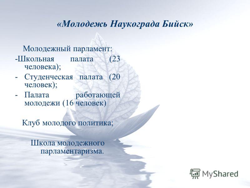 «Молодежь Наукограда Бийск» Молодежный парламент: -Школьная палата (23 человека); -Студенческая палата (20 человек); -Палата работающей молодежи (16 человек) Клуб молодого политика; Школа молодежного парламентаризма.