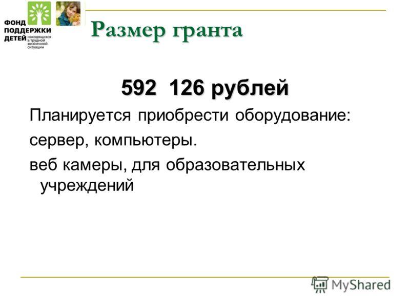 Размер гранта 592 126 рублей Планируется приобрести оборудование: сервер, компьютеры. веб камеры, для образовательных учреждений