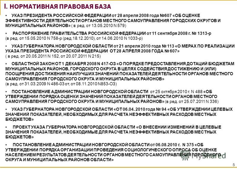 5 УКАЗ ПРЕЗИДЕНТА РОССИЙСКОЙ ФЕДЕРАЦИИ от 28 апреля 2008 года 607 «ОБ ОЦЕНКЕ ЭФФЕКТИВНОСТИ ДЕЯТЕЛЬНОСТИ ОРГАНОВ МЕСТНОГО САМОУПРАВЛЕНИЯ ГОРОДСКИХ ОКРУГОВ И МУНИЦИПАЛЬНЫХ РАЙОНОВ» ( в ред. от 13.05.2010 N 579) РАСПОРЯЖЕНИЕ ПРАВИТЕЛЬСТВА РОССИЙСКОЙ ФЕД