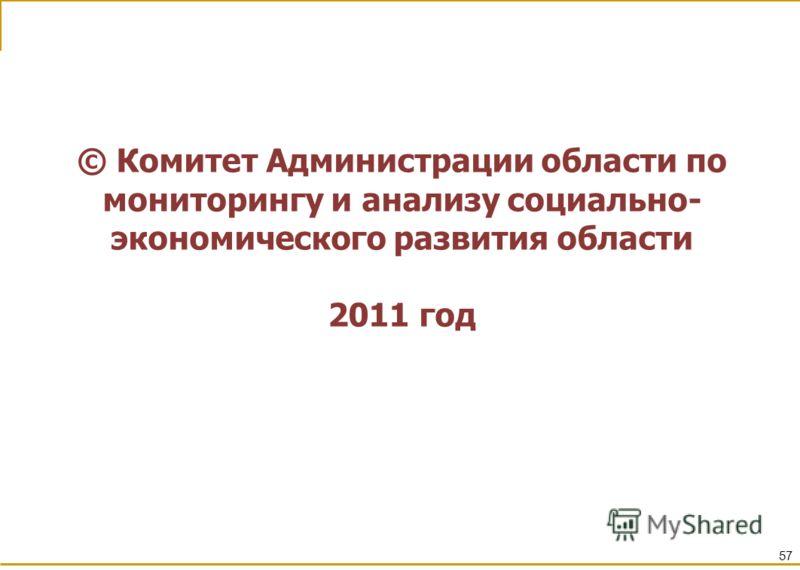 57 © Комитет Администрации области по мониторингу и анализу социально- экономического развития области 2011 год