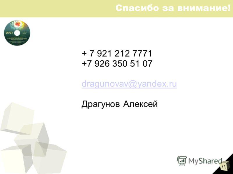 11 Спасибо за внимание! + 7 921 212 7771 +7 926 350 51 07 dragunovav@yandex.ru Драгунов Алексей