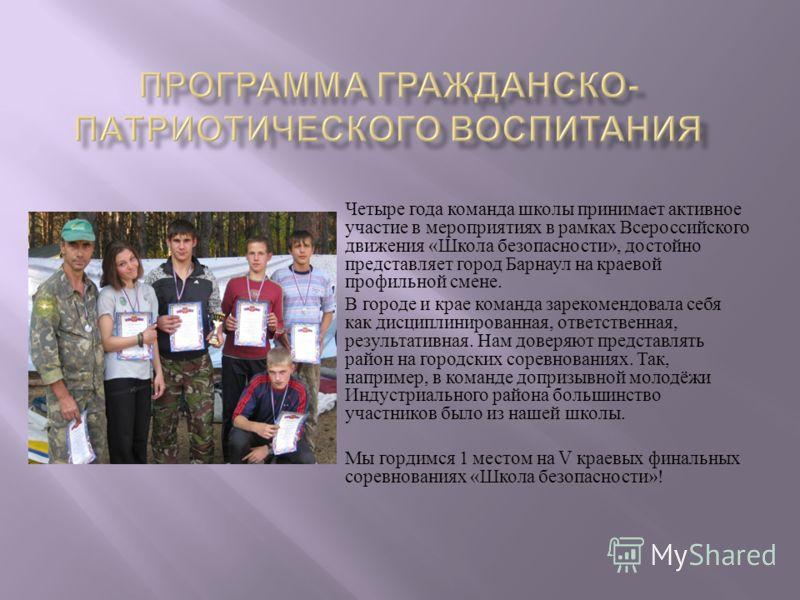 Четыре года команда школы принимает активное участие в мероприятиях в рамках Всероссийского движения « Школа безопасности », достойно представляет город Барнаул на краевой профильной смене. В городе и крае команда зарекомендовала себя как дисциплинир