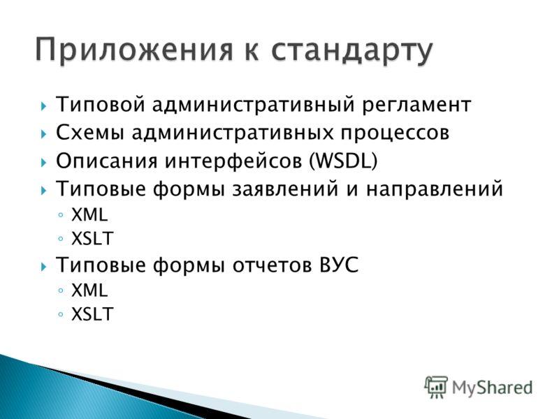 Типовой административный регламент Схемы административных процессов Описания интерфейсов (WSDL) Типовые формы заявлений и направлений XML XSLT Типовые формы отчетов ВУС XML XSLT
