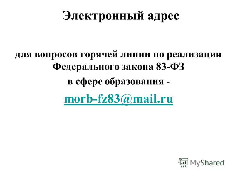 Электронный адрес для вопросов горячей линии по реализации Федерального закона 83-ФЗ в сфере образования - morb-fz83@mail.ru