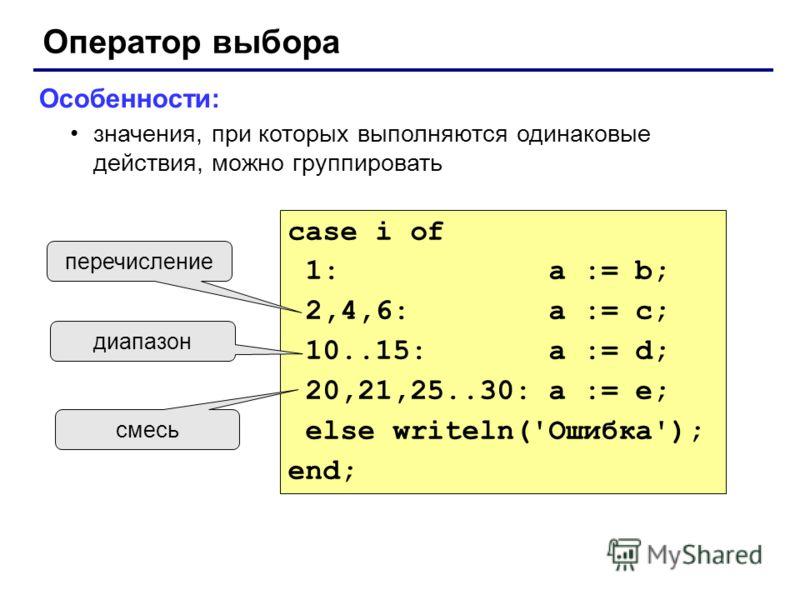 Оператор выбора Особенности: значения, при которых выполняются одинаковые действия, можно группировать case i of 1: a := b; 2,4,6: a := c; 10..15: a := d; 20,21,25..30: a := e; else writeln('Ошибка'); end; перечисление диапазон смесь