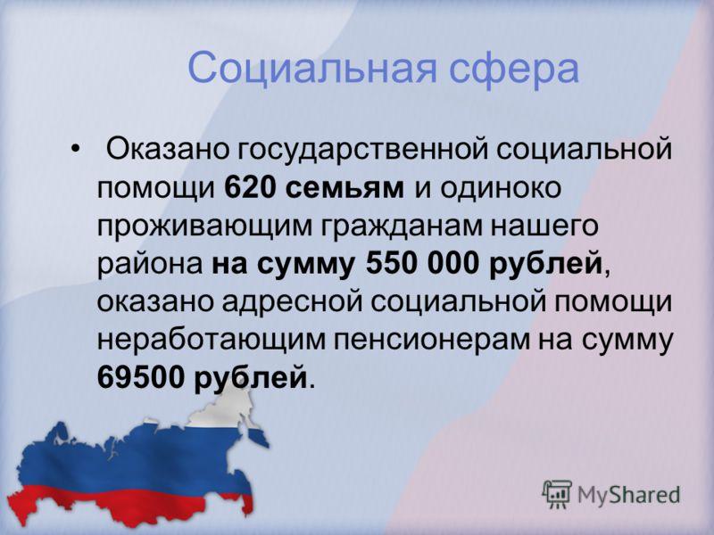 Социальная сфера Оказано государственной социальной помощи 620 семьям и одиноко проживающим гражданам нашего района на сумму 550 000 рублей, оказано адресной социальной помощи неработающим пенсионерам на сумму 69500 рублей.
