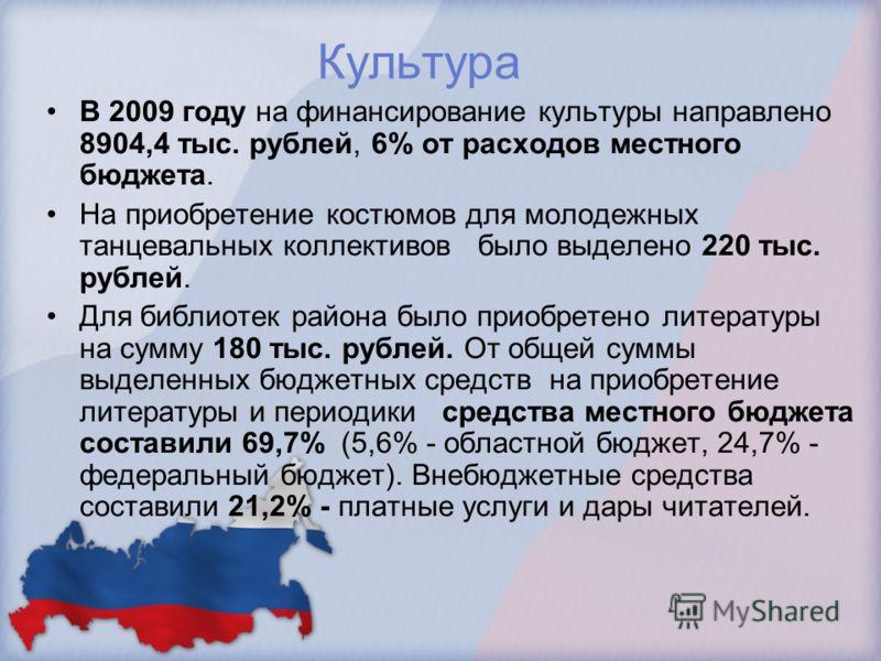 Культура В 2009 году на финансирование культуры направлено 8904,4 тыс. рублей, 6% от расходов местного бюджета. На приобретение костюмов для молодежных танцевальных коллективов было выделено 220 тыс. рублей. Для библиотек района было приобретено лите
