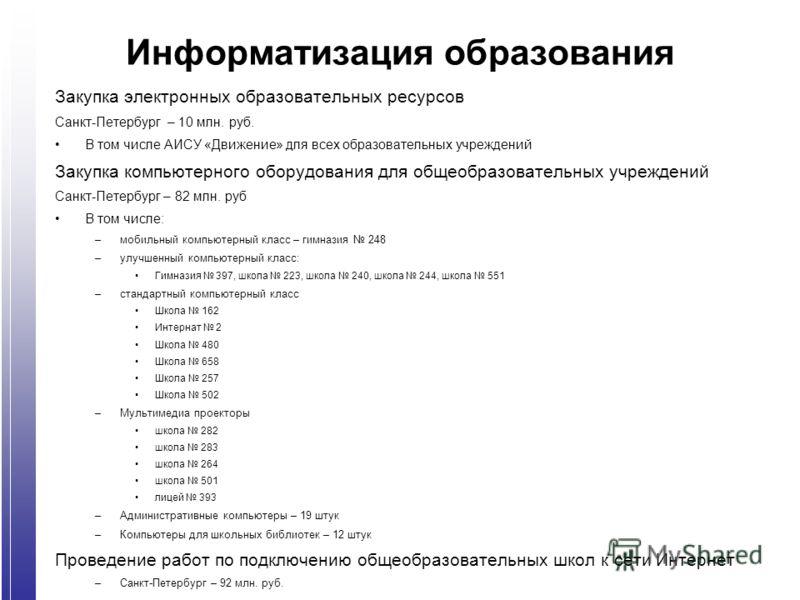 Информатизация образования Закупка электронных образовательных ресурсов Санкт-Петербург – 10 млн. руб. В том числе АИСУ «Движение» для всех образовательных учреждений Закупка компьютерного оборудования для общеобразовательных учреждений Санкт-Петербу