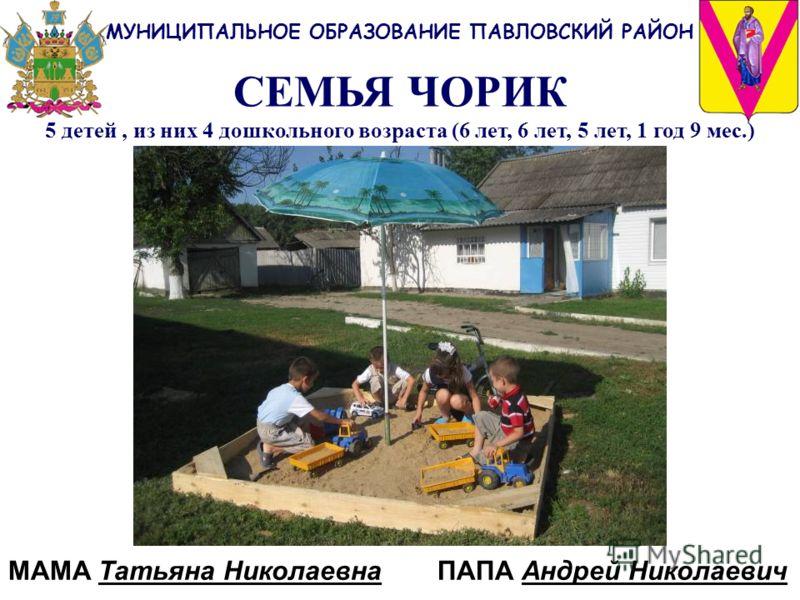 СЕМЬЯ ЧОРИК 5 детей, из них 4 дошкольного возраста (6 лет, 6 лет, 5 лет, 1 год 9 мес.) МУНИЦИПАЛЬНОЕ ОБРАЗОВАНИЕ ПАВЛОВСКИЙ РАЙОН МАМА Татьяна Николаевна ПАПА Андрей Николаевич