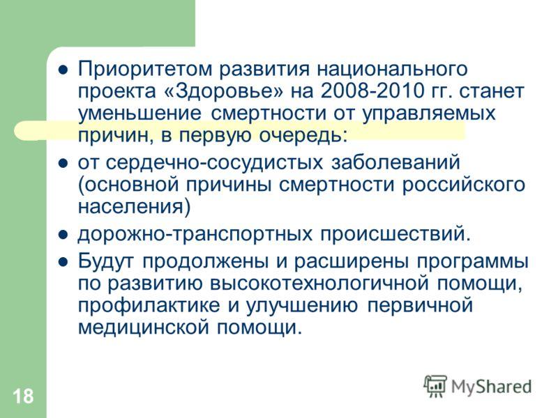 18 Приоритетом развития национального проекта «Здоровье» на 2008-2010 гг. станет уменьшение смертности от управляемых причин, в первую очередь: от сердечно-сосудистых заболеваний (основной причины смертности российского населения) дорожно-транспортны