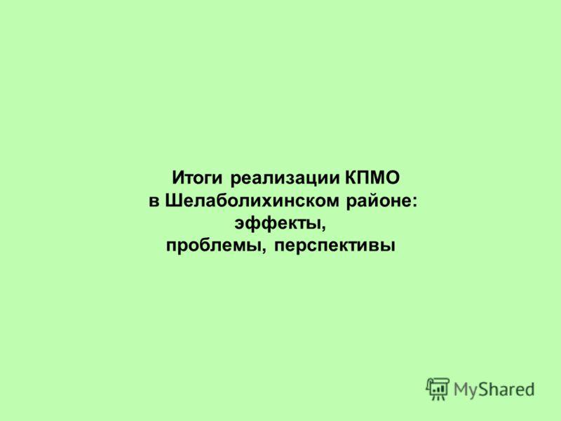 Итоги реализации КПМО в Шелаболихинском районе: эффекты, проблемы, перспективы