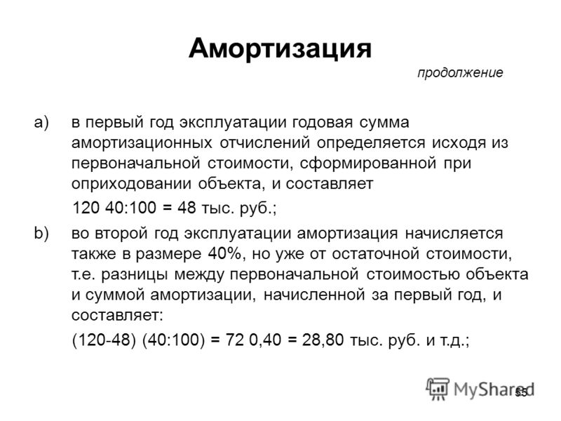 55 a)в первый год эксплуатации годовая сумма амортизационных отчислений определяется исходя из первоначальной стоимости, сформированной при оприходовании объекта, и составляет 120 40:100 = 48 тыс. руб.; b)во второй год эксплуатации амортизация начисл