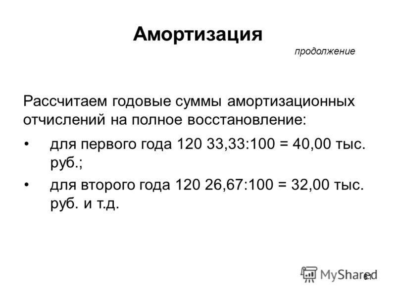 61 Рассчитаем годовые суммы амортизационных отчислений на полное восстановление: для первого года 120 33,33:100 = 40,00 тыс. руб.; для второго года 120 26,67:100 = 32,00 тыс. руб. и т.д. продолжение Амортизация