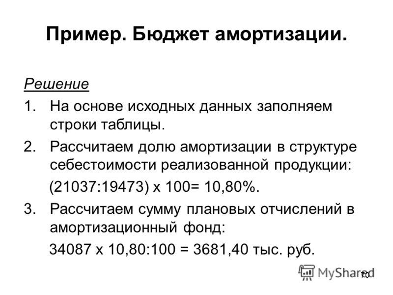 70 Решение 1.На основе исходных данных заполняем строки таблицы. 2.Рассчитаем долю амортизации в структуре себестоимости реализованной продукции: (21037:19473) х 100= 10,80%. 3.Рассчитаем сумму плановых отчислений в амортизационный фонд: 34087 х 10,8