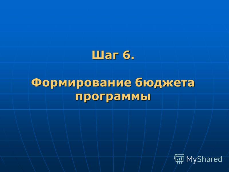 Шаг 6. Формирование бюджета программы