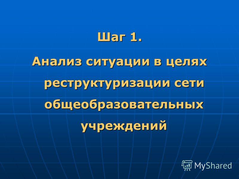 Шаг 1. Анализ ситуации в целях реструктуризации сети общеобразовательных учреждений