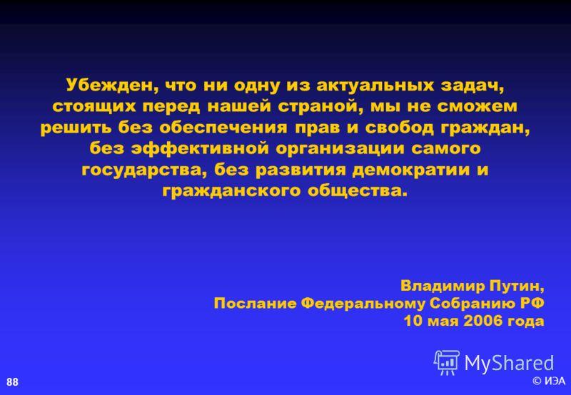 © ИЭА88 Убежден, что ни одну из актуальных задач, стоящих перед нашей страной, мы не сможем решить без обеспечения прав и свобод граждан, без эффективной организации самого государства, без развития демократии и гражданского общества. Владимир Путин,