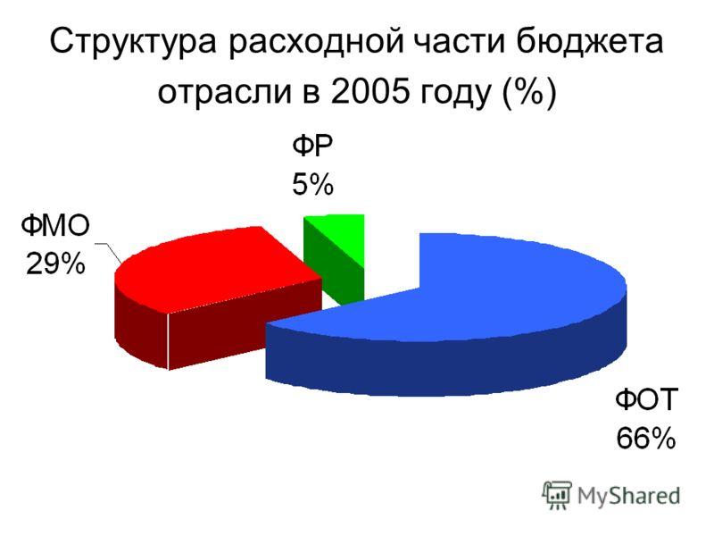 Структура расходной части бюджета отрасли в 2005 году (%)