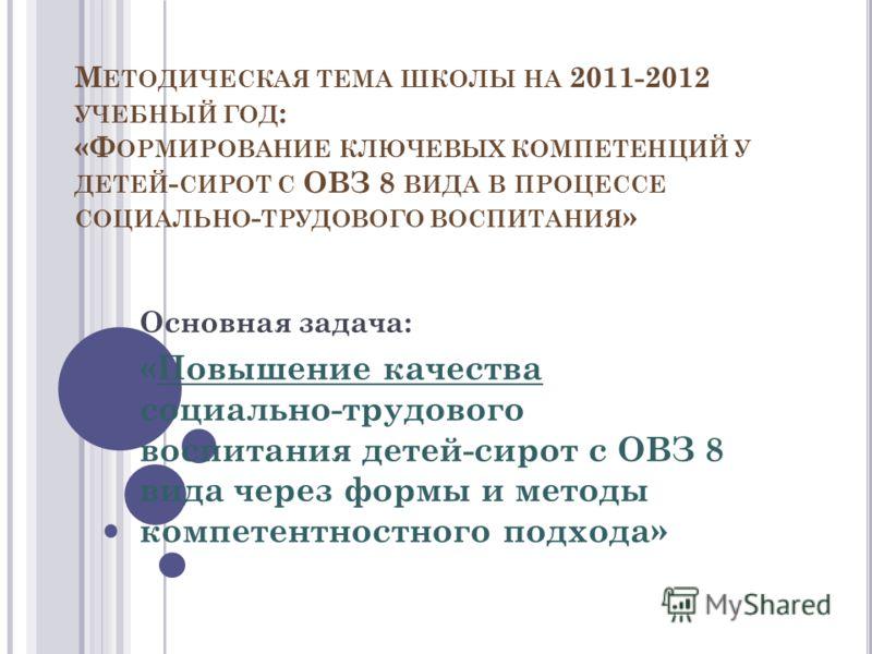 М ЕТОДИЧЕСКАЯ ТЕМА ШКОЛЫ НА 2011-2012 УЧЕБНЫЙ ГОД : «Ф ОРМИРОВАНИЕ КЛЮЧЕВЫХ КОМПЕТЕНЦИЙ У ДЕТЕЙ - СИРОТ С ОВЗ 8 ВИДА В ПРОЦЕССЕ СОЦИАЛЬНО - ТРУДОВОГО ВОСПИТАНИЯ » Основная задача: «Повышение качества социально-трудового воспитания детей-сирот с ОВЗ 8