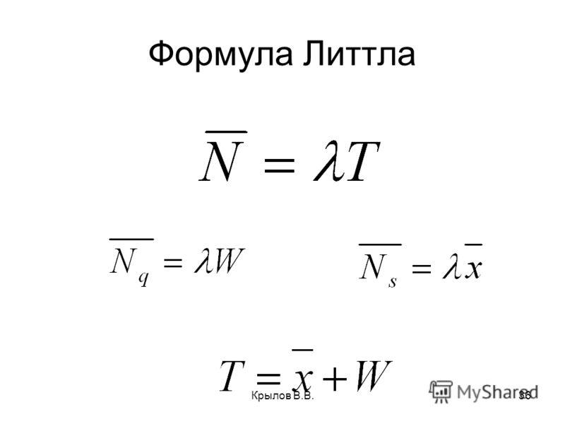 Крылов В.В.36 Формула Литтла