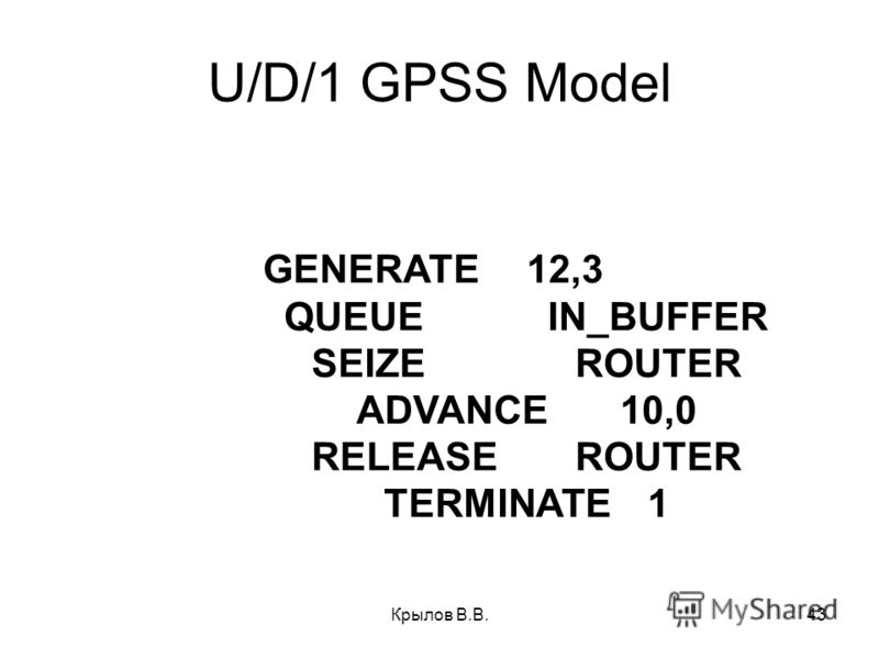 Крылов В.В.43 U/D/1 GPSS Model GENERATE12,3 QUEUEIN_BUFFER SEIZEROUTER ADVANCE10,0 RELEASEROUTER TERMINATE1