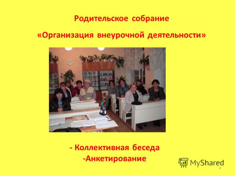 - Коллективная беседа -Анкетирование 4 Родительское собрание «Организация внеурочной деятельности»
