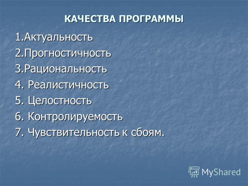 КАЧЕСТВА ПРОГРАММЫ 1.Актуальность2.Прогностичность3.Рациональность 4. Реалистичность 5. Целостность 6. Контролируемость 7. Чувствительность к сбоям.