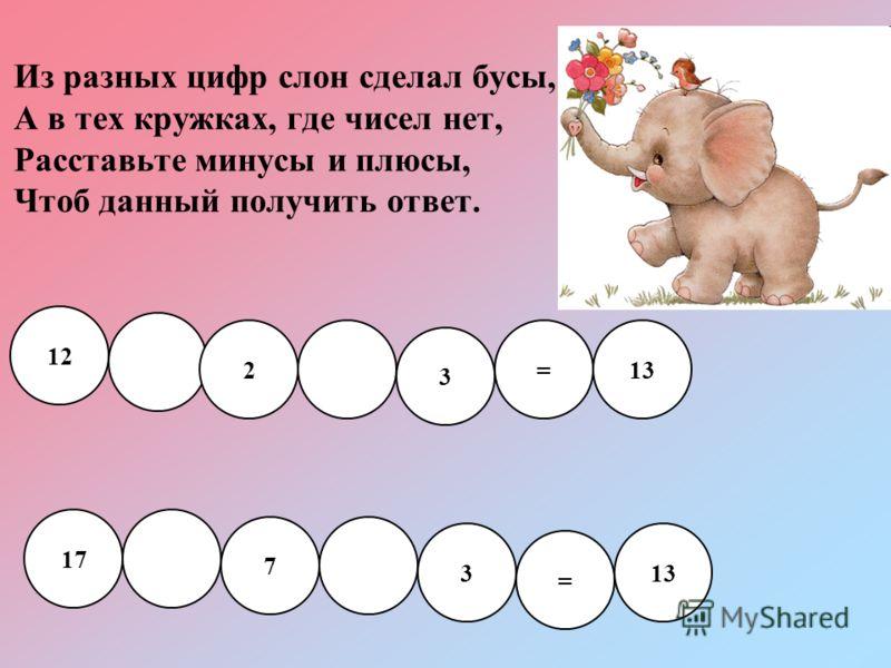 Из разных цифр слон сделал бусы, А в тех кружках, где чисел нет, Расставьте минусы и плюсы, Чтоб данный получить ответ. 12 17 7 3 = 13 2 3 =