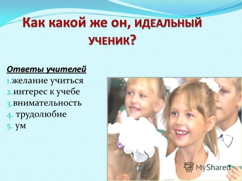 Ответы учителей 1. желание учиться 2. интерес к учебе 3. внимательность 4. трудолюбие 5. ум