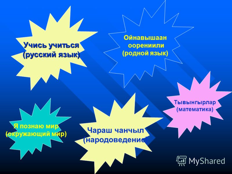 Учись учиться (русский язык) Чараш чанчыл (народоведение) Тывынгырлар (математика) Ойнавышаан оорениили (родной язык) Я познаю мир (окружающий мир)