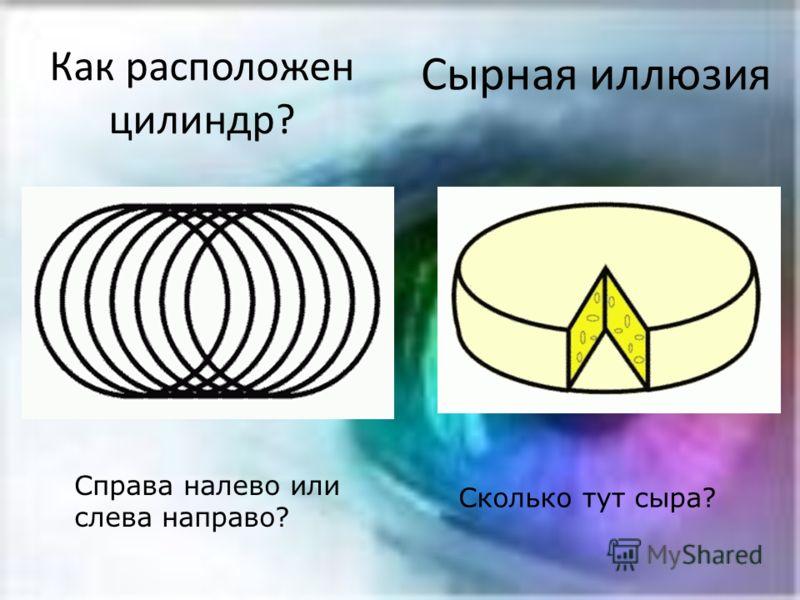 Как расположен цилиндр? Справа налево или слева направо? Сырная иллюзия Сколько тут сыра?