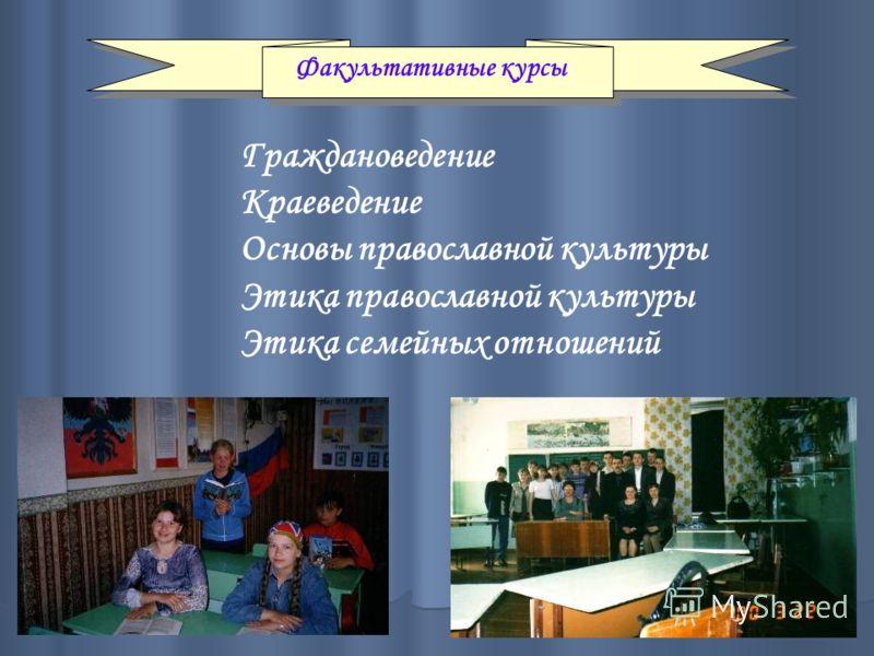 Факультативные курсы Граждановедение Краеведение Основы православной культуры Этика православной культуры Этика семейных отношений