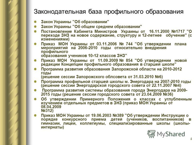 4 Законодательная база профильного образования Закон Украины