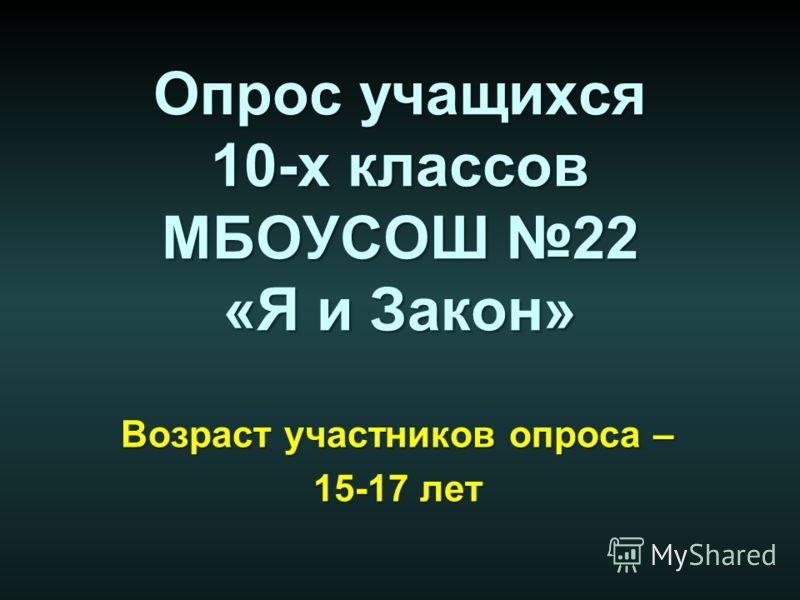Опрос учащихся 10-х классов МБОУСОШ 22 «Я и Закон» Возраст участников опроса – 15-17 лет