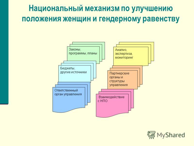Национальный механизм по улучшению положения женщин и гендерному равенству Законы, программы, планы Бюджеты, другие источники Анализ, экспертиза, мониторинг Партнерские органы и структуры управления Взаимодействие с НПО Ответственный орган управления