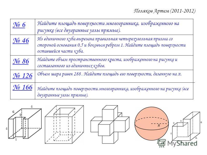 Поляков Артем (2011-2012) 6 Найдите площадь поверхности многогранника, изображенного на рисунке (все двугранные углы прямые). 46 Из единичного куба вырезана правильная четырехугольная призма со стороной основания 0,5 и боковым ребром 1. Найдите площа