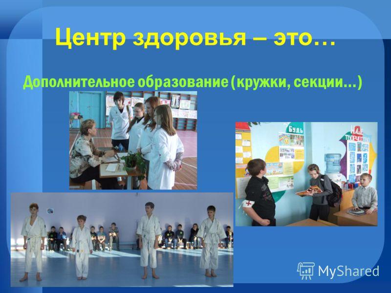 Центр здоровья – это… Дополнительное образование (кружки, секции…)