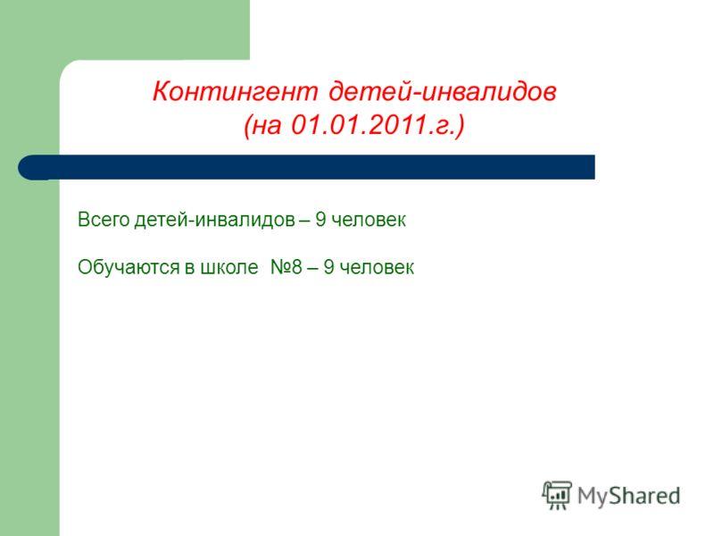 Контингент детей-инвалидов (на 01.01.2011.г.) Всего детей-инвалидов – 9 человек Обучаются в школе 8 – 9 человек