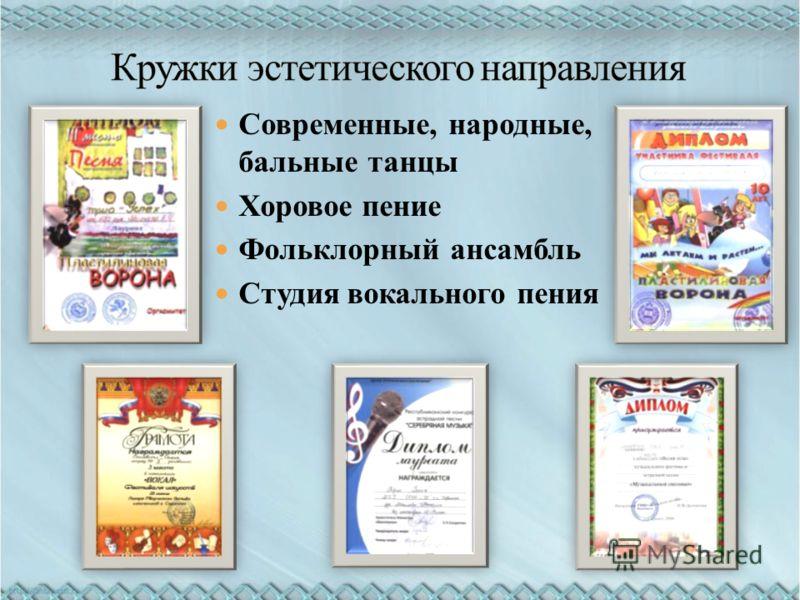 Современные, народные, бальные танцы Хоровое пение Фольклорный ансамбль Студия вокального пения