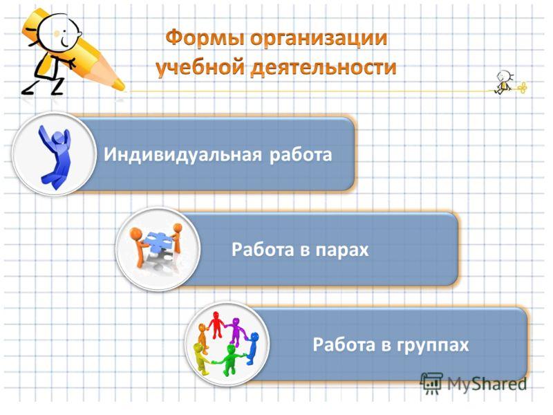 Индивидуальная работа Работа в парах Работа в группах