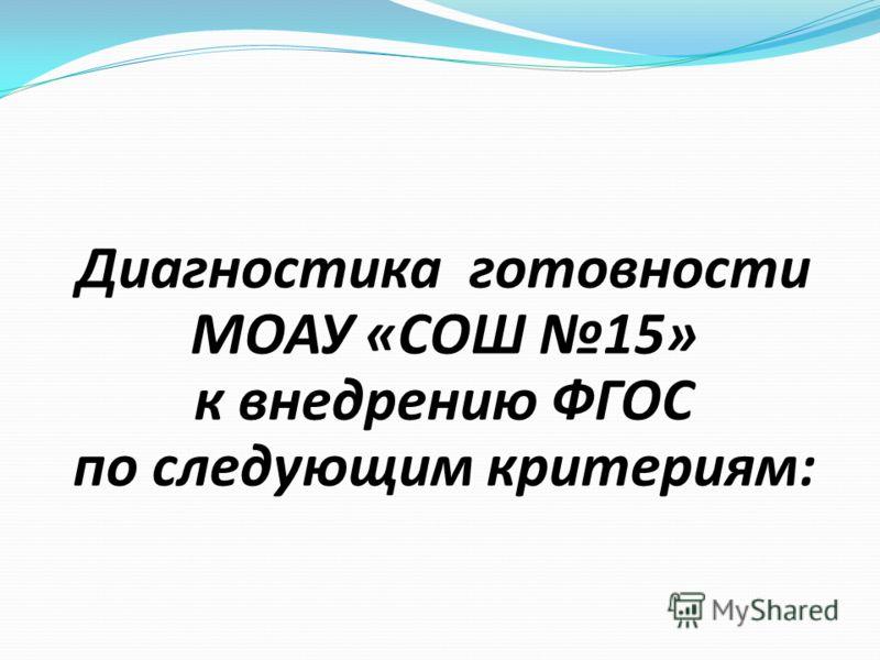 Диагностика готовности МОАУ «СОШ 15» к внедрению ФГОС по следующим критериям: