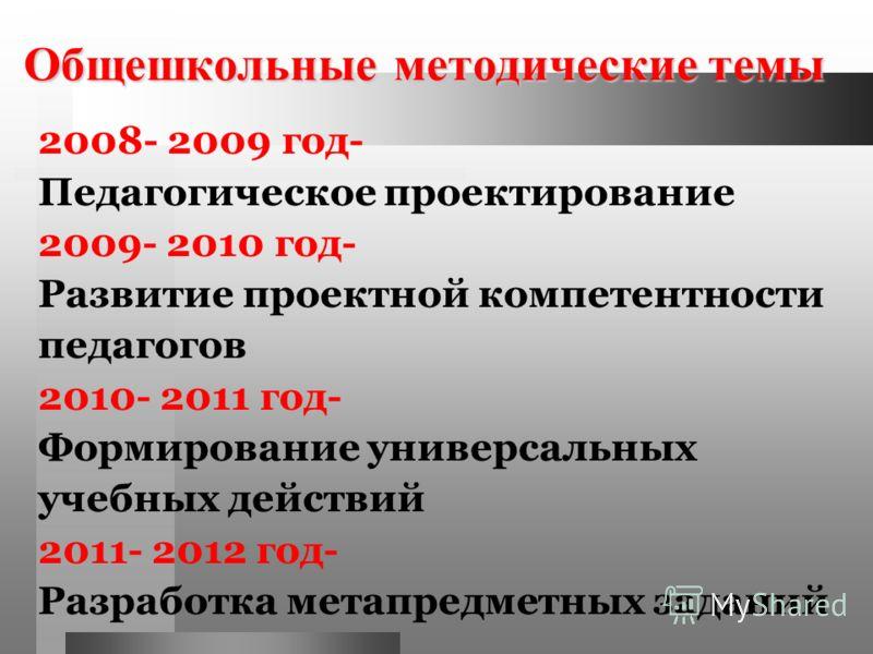Общешкольные методические темы 2008- 2009 год- Педагогическое проектирование 2009- 2010 год- Развитие проектной компетентности педагогов 2010- 2011 год- Формирование универсальных учебных действий 2011- 2012 год- Разработка метапредметных заданий