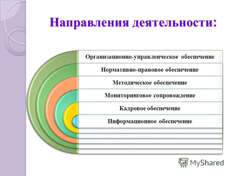 Направления деятельности : Организационно-управленческое обеспечение Нормативно-правовое обеспечение Методическое обеспечение Мониторинговое сопровождение Кадровое обеспечение Информационное обеспечение