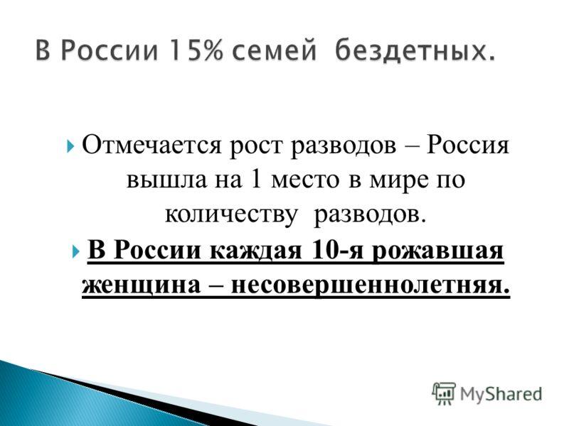 Отмечается рост разводов – Россия вышла на 1 место в мире по количеству разводов. В России каждая 10-я рожавшая женщина – несовершеннолетняя.