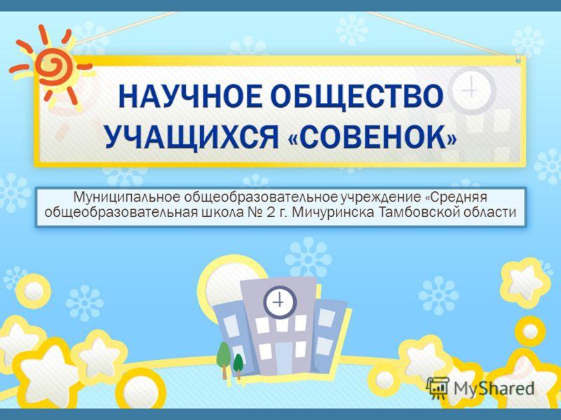 Муниципальное общеобразовательное учреждение «Средняя общеобразовательная школа 2 г. Мичуринска Тамбовской области